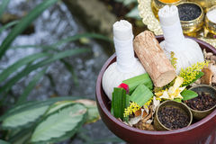 Thai traditional Herbal balls and herbs Stock Photo