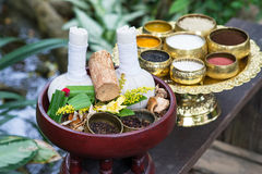 Thai traditional Herbal balls and herbs Royalty Free Stock Image