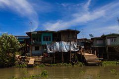 Thai traditional house along the river, Living with natural. Take photo from river Royalty Free Stock Photography