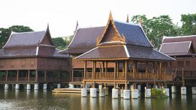 Thai traditional House. On the lake, Thailand stock image