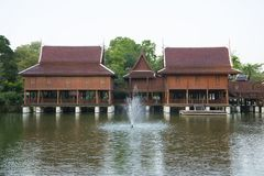 Thai traditional House. On the lake, Thailand royalty free stock photography