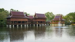 Thai traditional House. On the lake, Thailand royalty free stock photo