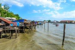 Thai traditional house, vilage riverfront in Bangkok thailand Royalty Free Stock Image