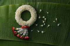 Thai traditional jasmine garland. Symbol of Mother`s day in thailand on Banana leaf Stock Photography