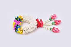Thai traditional jasmine garland. Symbol of Mother`s day in thailand on white background Royalty Free Stock Images