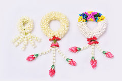 Thai traditional jasmine garland. Symbol of Mother`s day in thailand on white background Stock Image