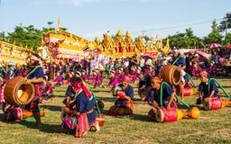 Thai traditional musician and Thai dancing. MAHASARAKHAM,THAILAND - MAY 18 : Thai ladies and musician performing Thai music and Thai dancing in Rocket festival stock photography