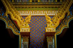 Thai traditional painting art on the Thai temples building. Background and texture Royalty Free Stock Photography