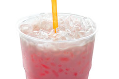 Thai Traditional pink milk isolated royalty free stock photo