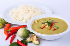 Thai traditional and popular food, Thai chicken green curry intense soup on white background. Stock Photos