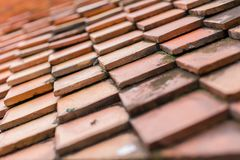 Thai Traditional Roof Tiles. Selective focus of Thai Traditional Roof Tiles texture background royalty free stock photography