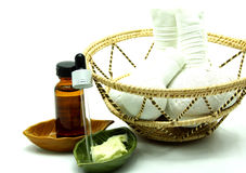Thai Traditional Spa Herbal Massage Set in Tray Royalty Free Stock Photos