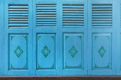 Thai Traditional Style Folded Door Stock Photo