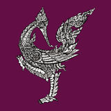 Thai traditional swan on purple background Royalty Free Stock Photos