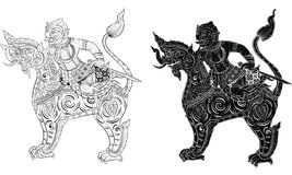 Thai traditional tattoo, Thai traditional painting in temple vector Royalty Free Stock Photography