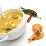 Thai traditional Tom Yan soup with seafood Stock Photography