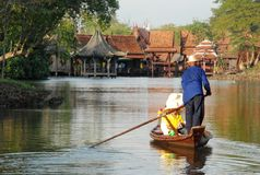 Thai traditional tourist boats on canals of Ancient Siam in Thailand stock image