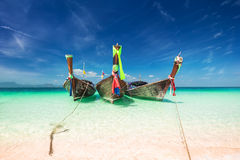 Thai traditional wooden boat at ocean shore. Thailand Royalty Free Stock Photo