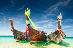 Thai traditional wooden boat at ocean shore Thailand Royalty Free Stock Photography