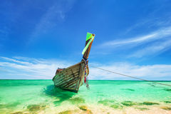 Thai traditional wooden boat at ocean shore Thailand Royalty Free Stock Photo