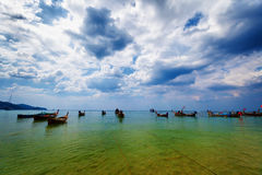 Thai traditional wooden boats in the lagoon Royalty Free Stock Image