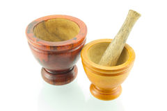 Thai Traditional wooden mortar on isolated white background. It have been used in Thai kitchen since in the past until nowadays. It is used for pounding Stock Photos