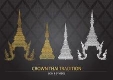 Thai traditionssymbol för krona stock illustrationer