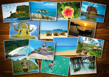Thai travel tourism concept design - collage of Thailand images Royalty Free Stock Image