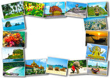 Thai travel tourism concept design - collage of Thailand images Stock Image
