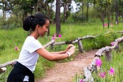 Thai trekking lady smiling during taking photo of Krachai flower field. In mountain stock photos
