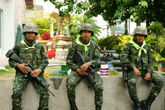 Thai troops opposite centralworld building. Thai troops in control of the protest site at ratchaprasong intersection. This area has been claimed back from the stock image