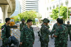 Thai troops at sarasin intersection Royalty Free Stock Images
