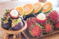 Thai tropical fruit on wooden table. Stock photo Stock Photography