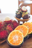 Thai tropical fruit on wooden table Stock Image