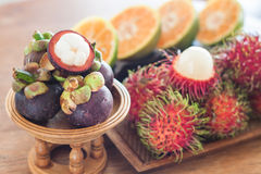 Thai tropical fruit on wooden table. Stock photo Stock Image