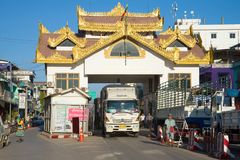 Thai truck on the Burmese checkpoint. Crossing the border of Myanmar and Thailand stock image