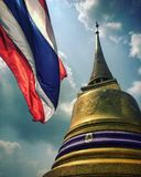 Thai. Typical Thai shot with national flag and golden stock photo
