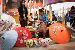 Thai umbrellas on display at Bit 2014, international tourism exchange in Milan, Italy Stock Image