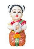 thai välkomnande för flickaskulptur Arkivfoton