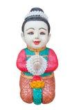 thai välkomnande för pojkeskulptur Royaltyfri Fotografi