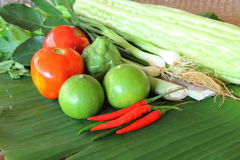 Thai vegetable and egg for cooking Royalty Free Stock Photo