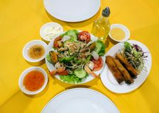 Thai vegetable salad with seafood and sauces stock images