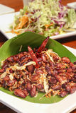 Thai vegetarian food fried red beans with garlic. Stock Photography