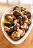 Thai vegetarian food Shiitake mushrooms with soy sauce. Royalty Free Stock Photos