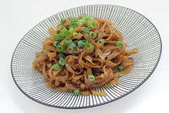 Thai vegetarian noodle with spring onion Stock Photos