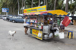Thai vendor selling street food and drinks Royalty Free Stock Photo