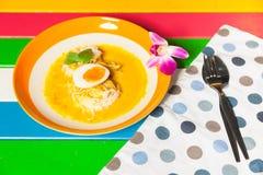 Thai vermicelli eaten with curry Stock Photos