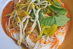 Thai vermicelli eaten with curry and vegetable Stock Image