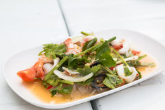 Thai vermicelli and seafood dress salad Stock Photography