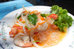 Thai vermicelli and seafood dress salad Stock Image